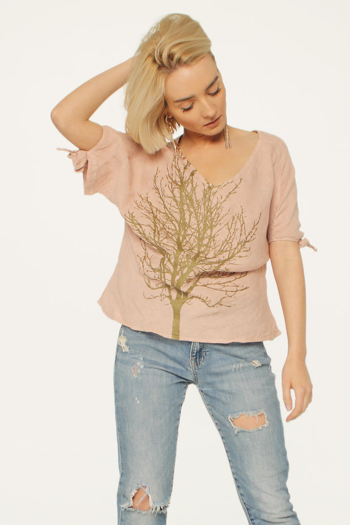 WABI SABI SALE Single Tree Linen Ribbon Top Pink-the cost of this item with discount code is $30