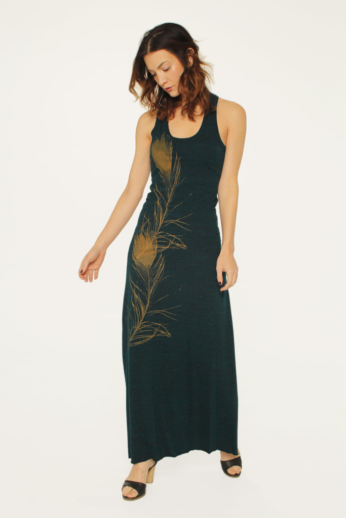 WABI SABI SALE Peacock Feather Dress Green-with discount code is $66