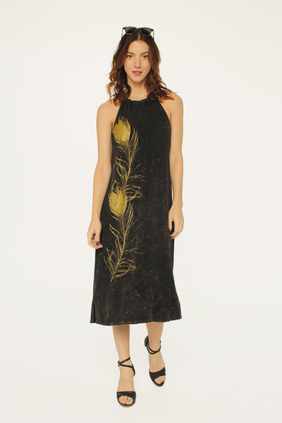 Peacock Feather Rope Dress Black