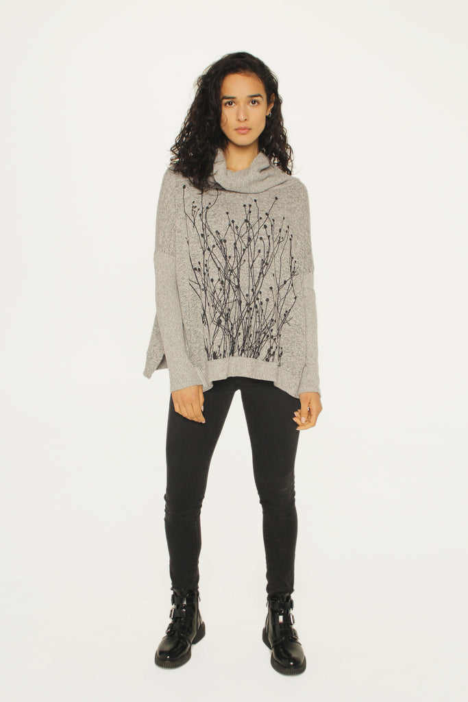 Field Heather Gray Cowl Sweater