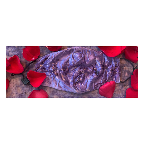 Flower Dyed Mulberry Silk Mask & Matching Chiffon Mini Cravat -Roses