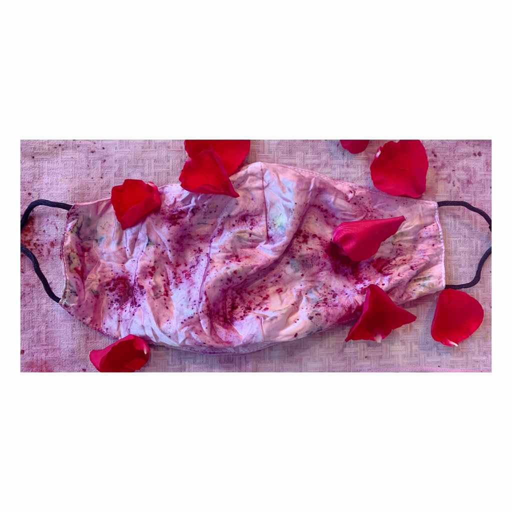 Flower Dyed Mulberry Silk Mask - Rose + Lac