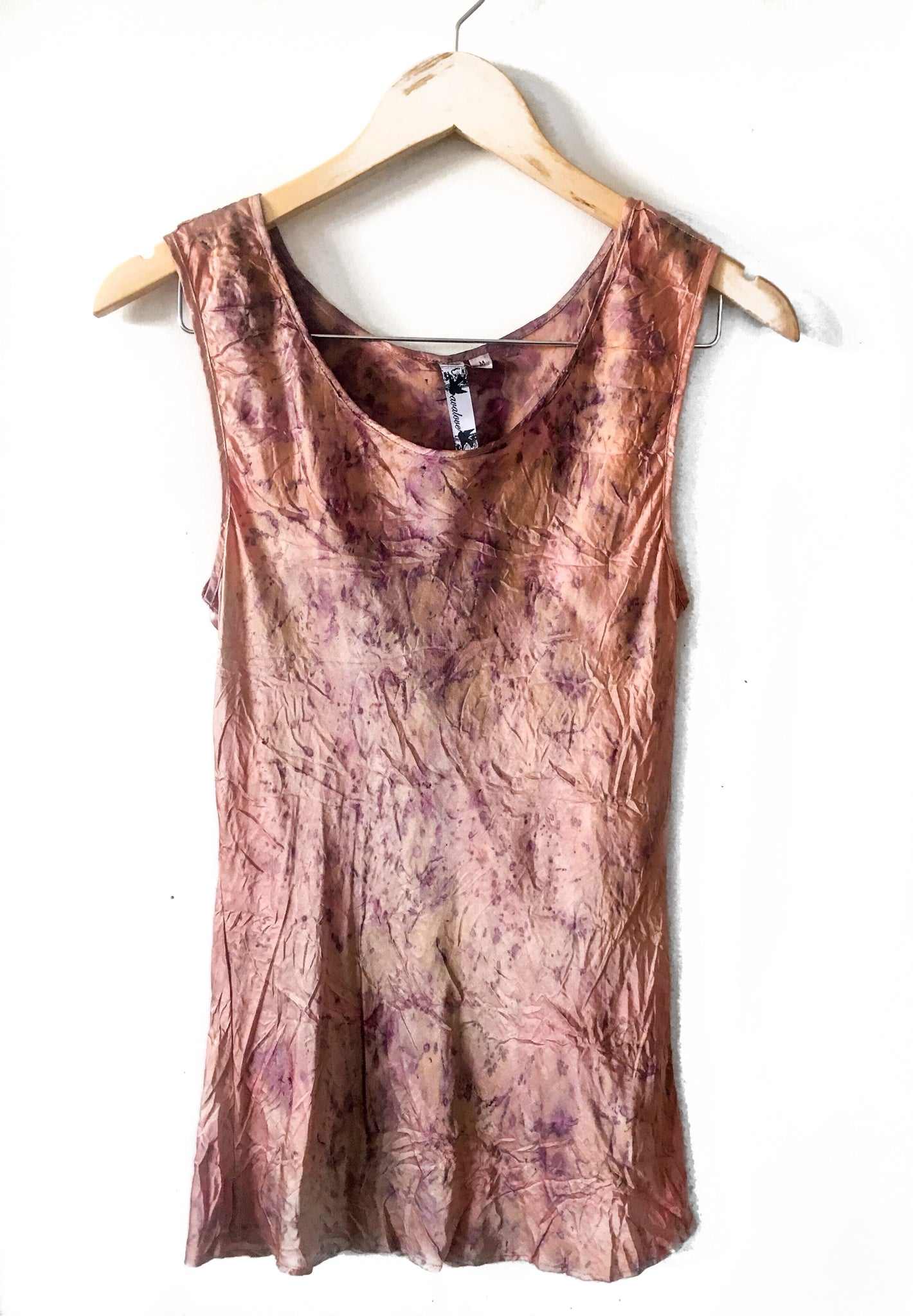 Wabi Sabi Sale-Flower Tank Wide Strap-Dye Seconds-100% Silk and dyed with flower petals-with code$43.50