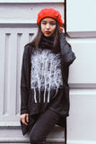 Fairytale Trees Poncho with Sleeves Charcoal- with code is $103.50