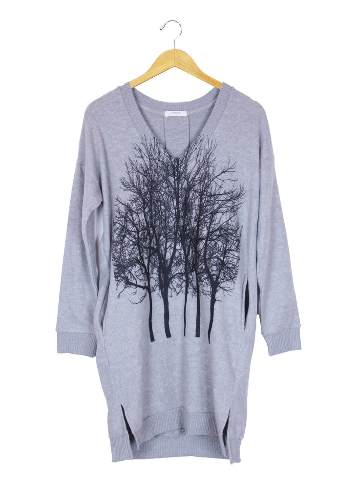 Fairytale Tree Fuzzy Vneck Pocket Tunic- Light Gray-with code is 103.50