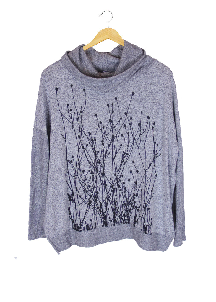 WABI SABI SALE Field Heather Gray Cowl Sweater-printed front and back- $66 with code!