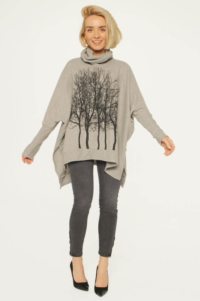 Fairytale Trees Poncho Light Gray- with code is $103.50
