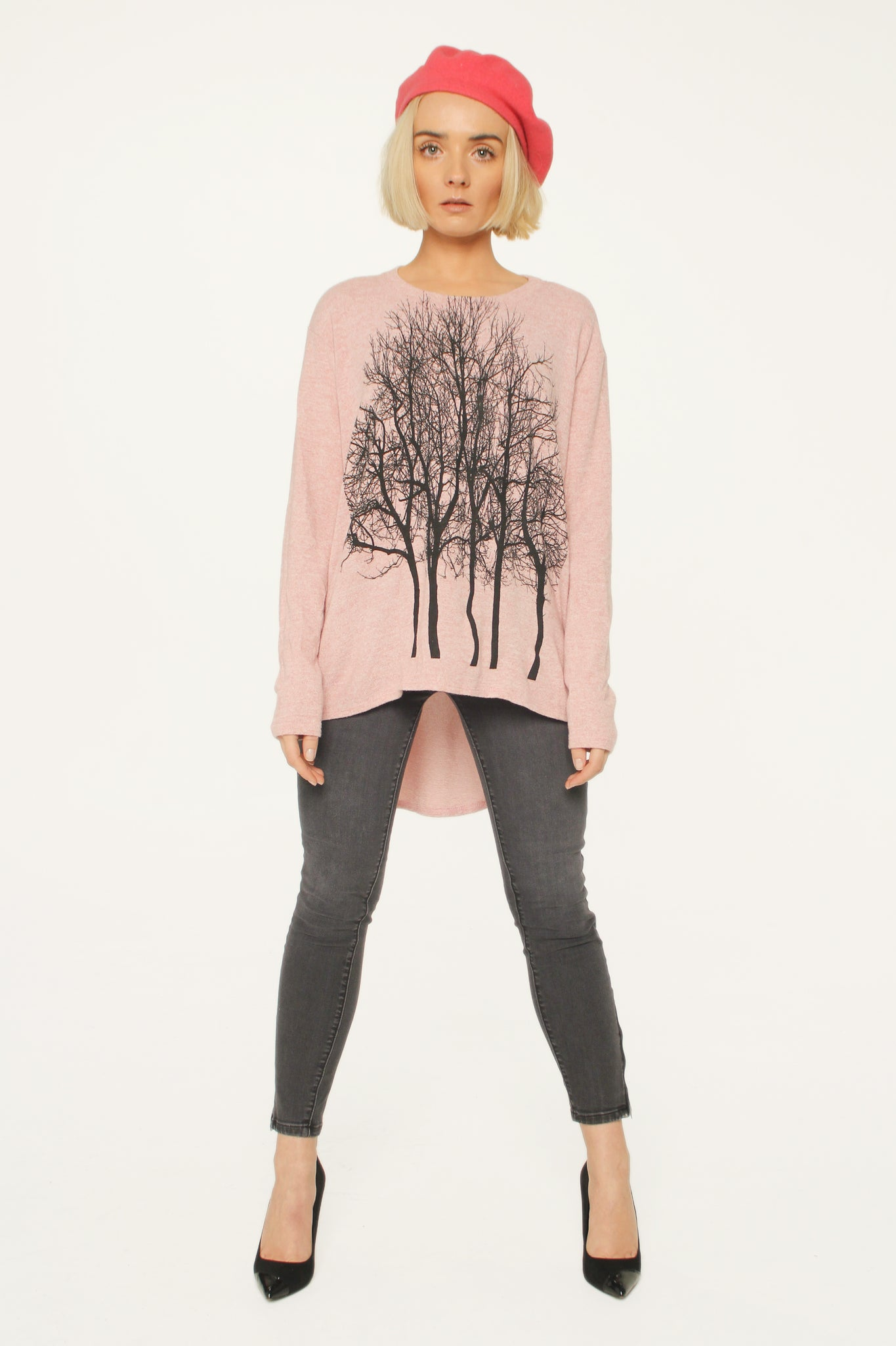 Fairytale Tree Fuzzy Sweater-Pink