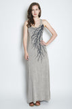 Big Tree Racerback Maxi Dress- Heather Gray with Dark Gray Branch