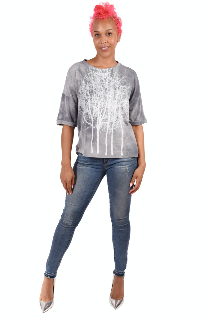Wabi Sabi Fairytale Sweatshirt Tee- Gray- with discount code is $24