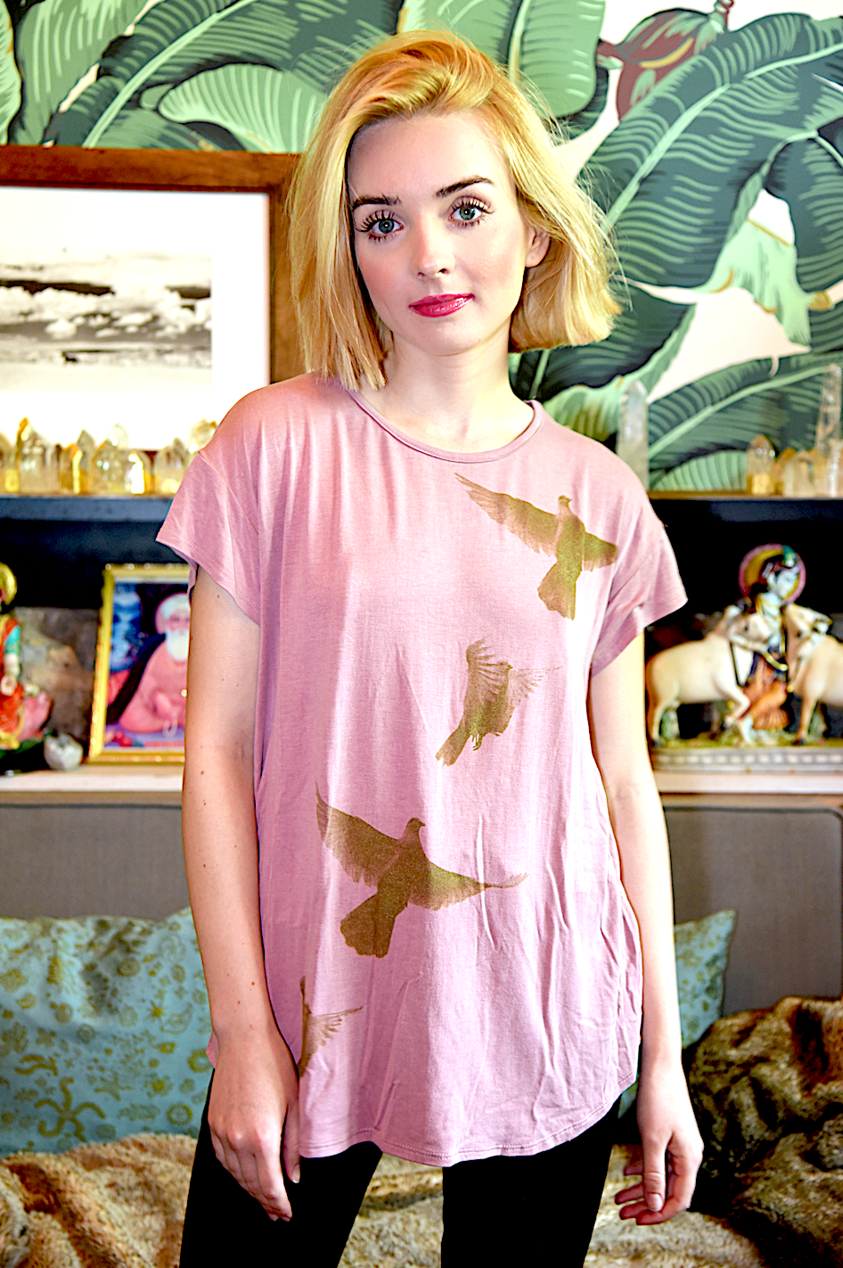 WABI SABI SALE Spinning Birds Shirt in Dusty Rose with Cross-Back