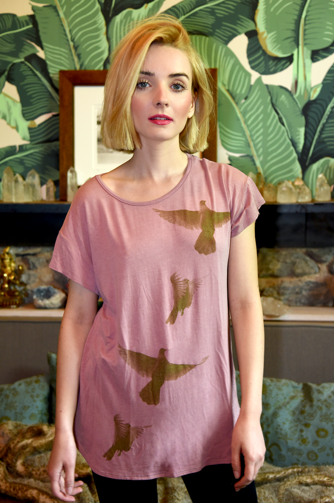 Birdie Shirt in Pink with Cross-Back