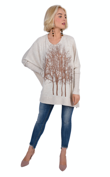 Rose Gold Fairytale Trees Oatmeal Swing Sweater