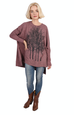 Wabi Sabi Sale Fairytale Trees Charcoal Swing Sweater