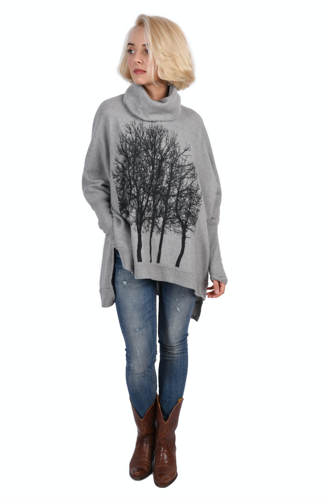 Fairytale Trees Poncho Light Gray- with code is $100.50