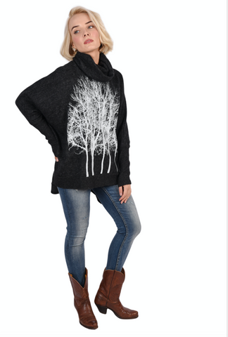 Fairytale Trees Poncho Light Gray