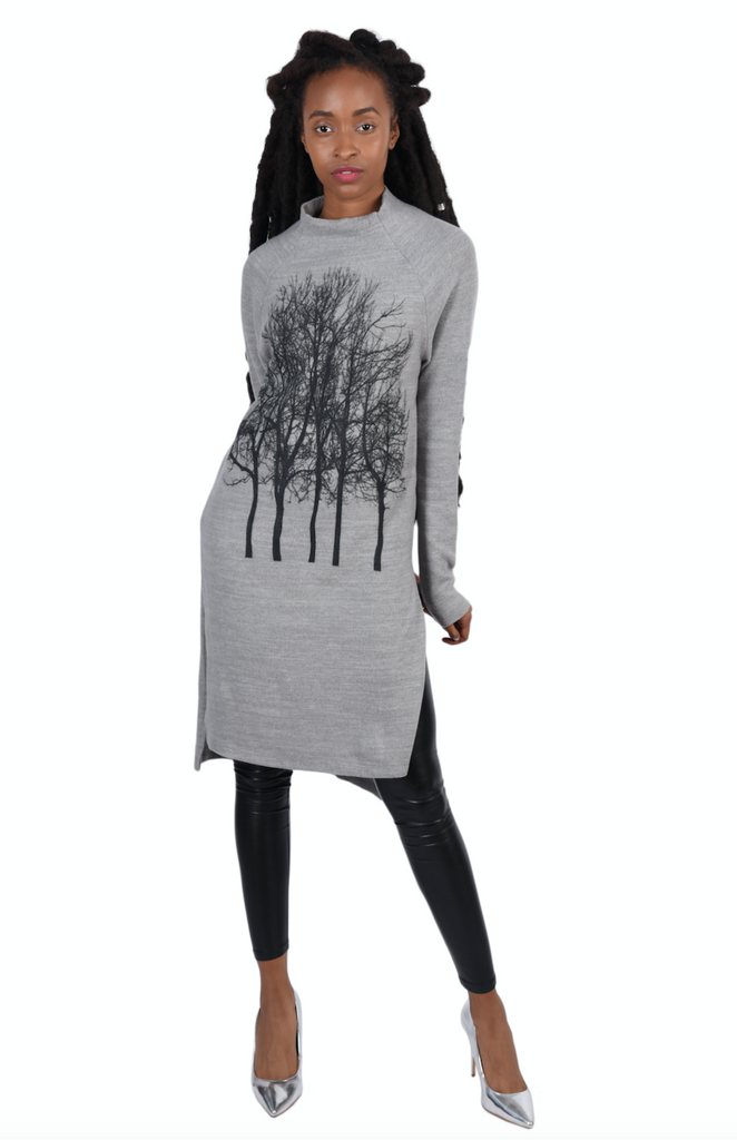 Wabi sabi Fairytale Trees Asian Cut  Fuzzy Dress Grey with code size L-washed/worn $33.75