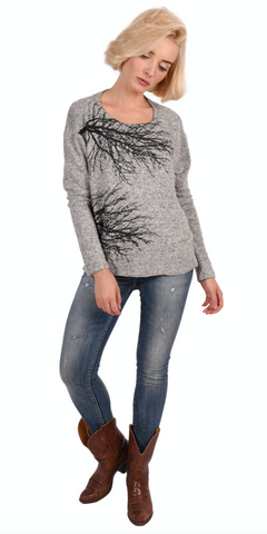 Wabi Sabi Sale Fairytale Trees Charcoal Swing Sweater- with code is $75