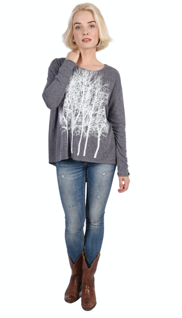 Wabi Sabi Sale Fairytale Trees Fuzzy Sweater Gray-with code is 50