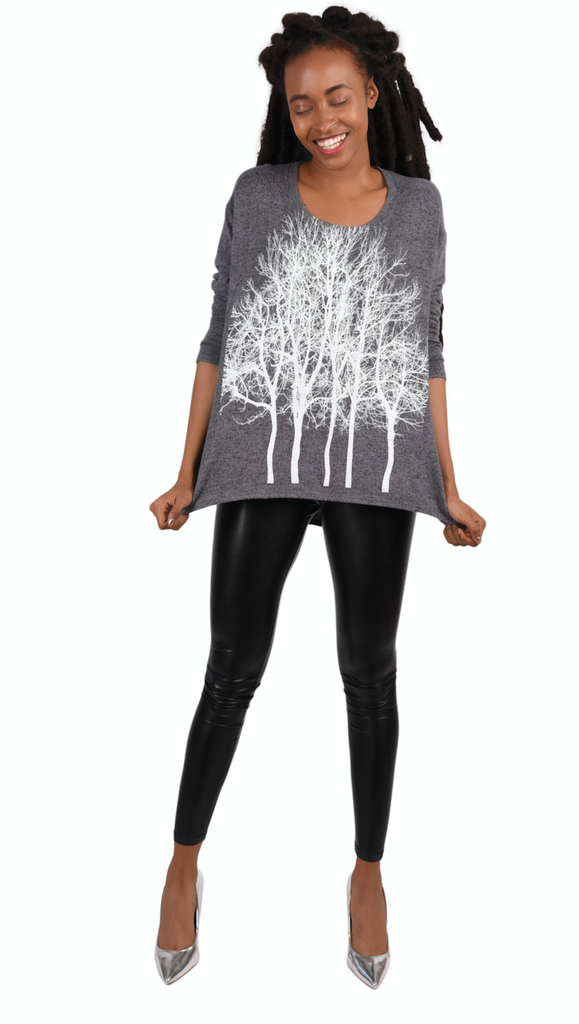 Fairytale Trees Fuzzy Sweater Gray