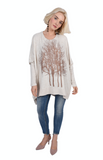 Wabi Sabi Sale Rose Gold Fairytale Trees Oatmeal Swing Sweater- with code is $33.75