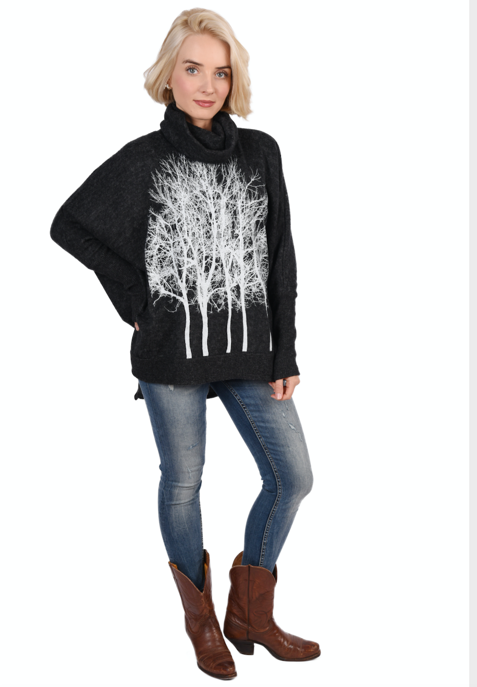 WABI SABI SALE : Fairytale Trees Poncho with Sleeves Charcoal