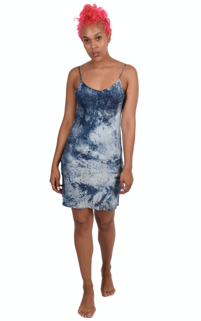 avalove botanics: Indigo Dyed Cami Silk Dress with code is $112.50