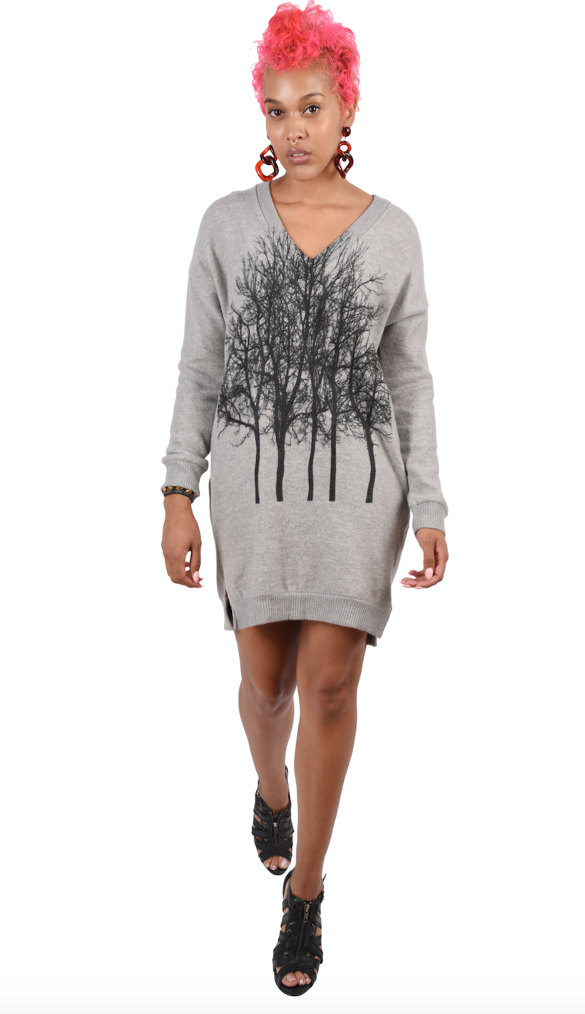 Fairytale Tree Fuzzy Vneck Pocket Tunic- Light Gray