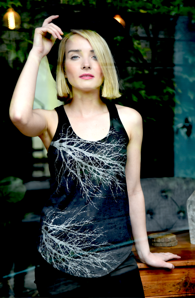 WABI SABI Two Tree Tank Black and Silver-with discount code is $23.25