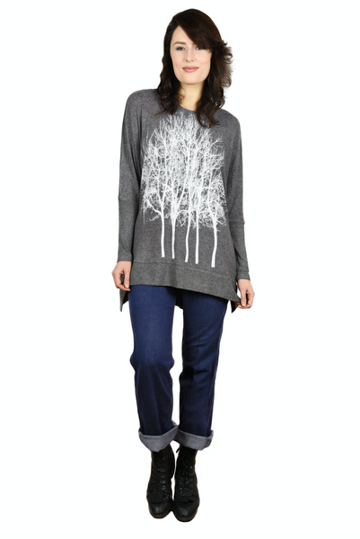 Fairytale Trees Charcoal Swing Sweater
