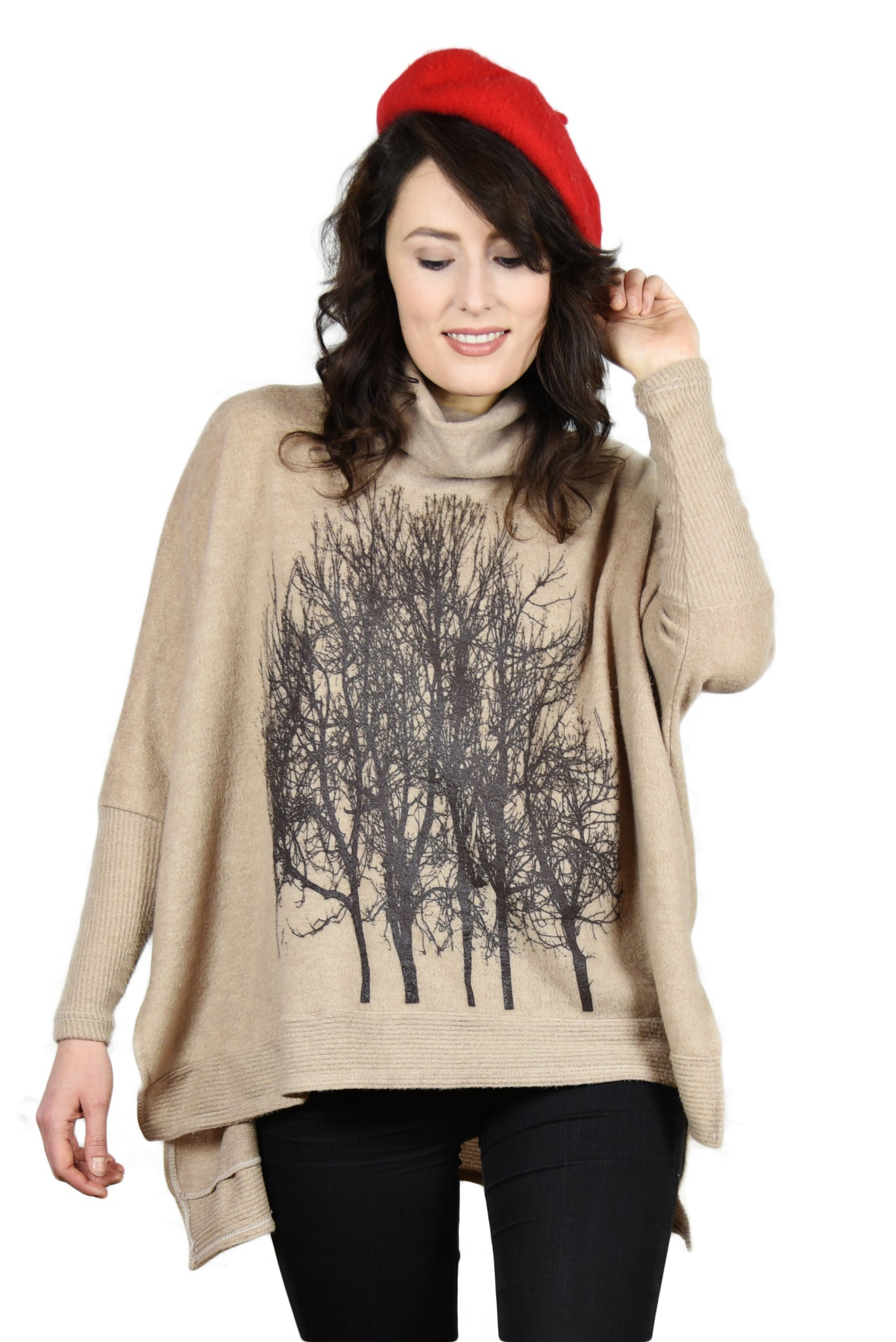 Fairytale Trees Poncho with Sleeves Chocolate