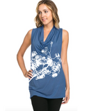 Firework Flower Cowl -Short Sleeve- Mellow Sea Blue