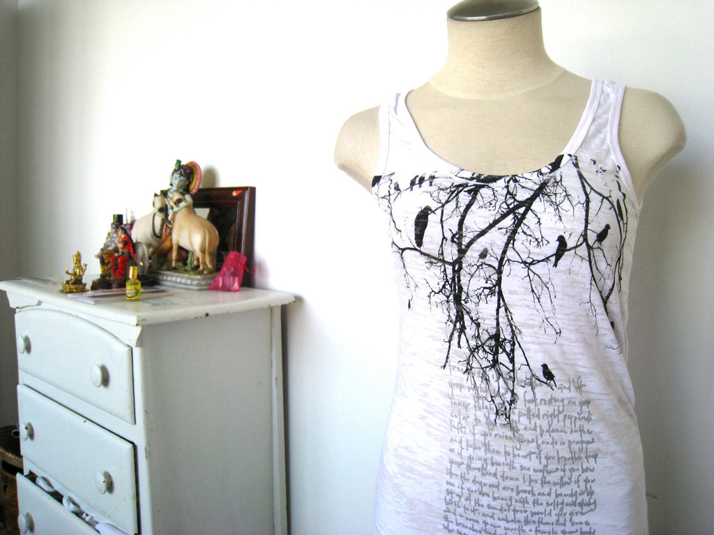 WABI SABI Tree Branch with Poem Tank-with discount code is $22.50