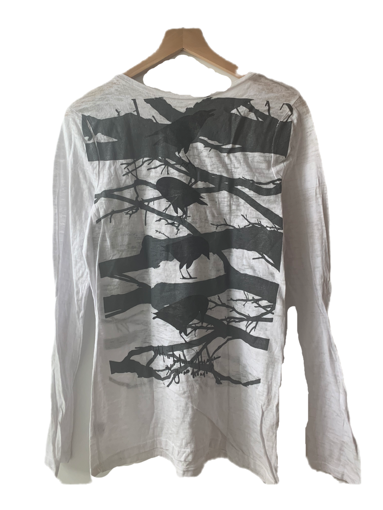 Wabi Sabi Branch and bird with poem Long Sleeve Burnout Tee