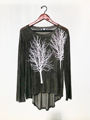 N Fairytale Trees Poncho with Sleeves Charcoal- with code is $103.50