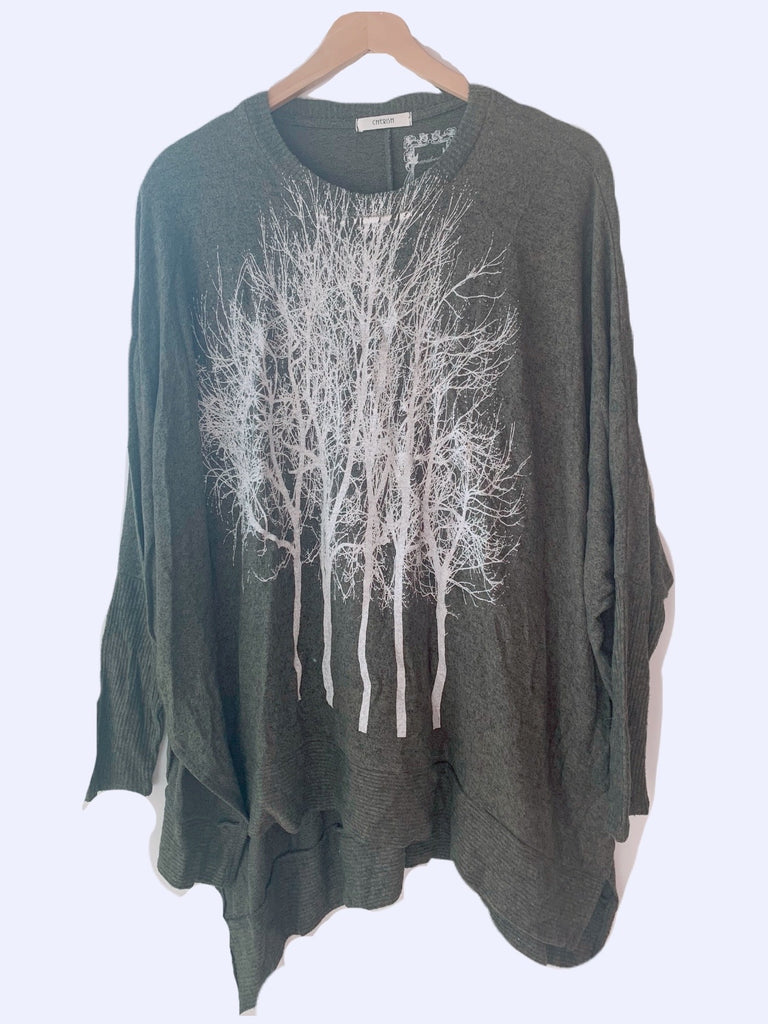 Wabi Sabi Fairytale Trees Navy Green Swing Sweater- with code is $73.50