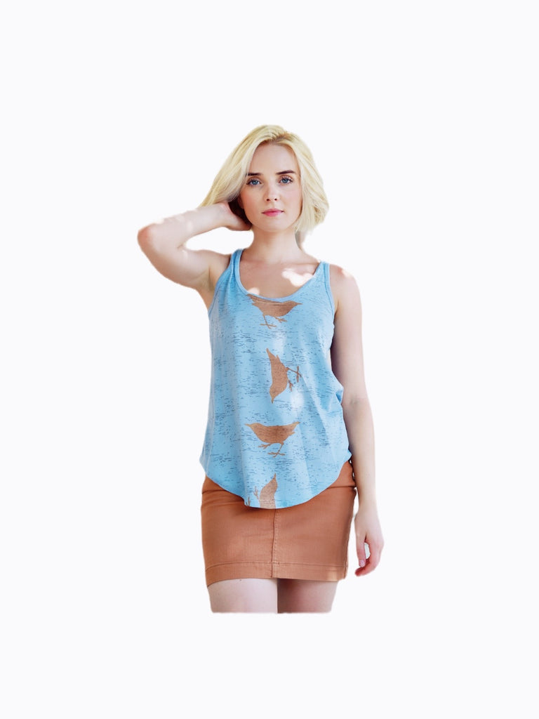 WABI SABI SALE Spinning Birds Tank - Light Blue-with discount code is $22.50