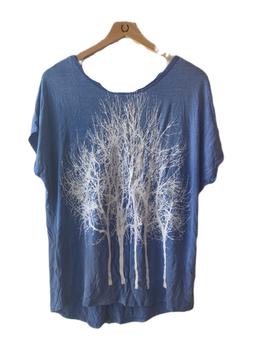 Firework Flower Tee-Short Sleeve Crew Neck Tee- Aqua