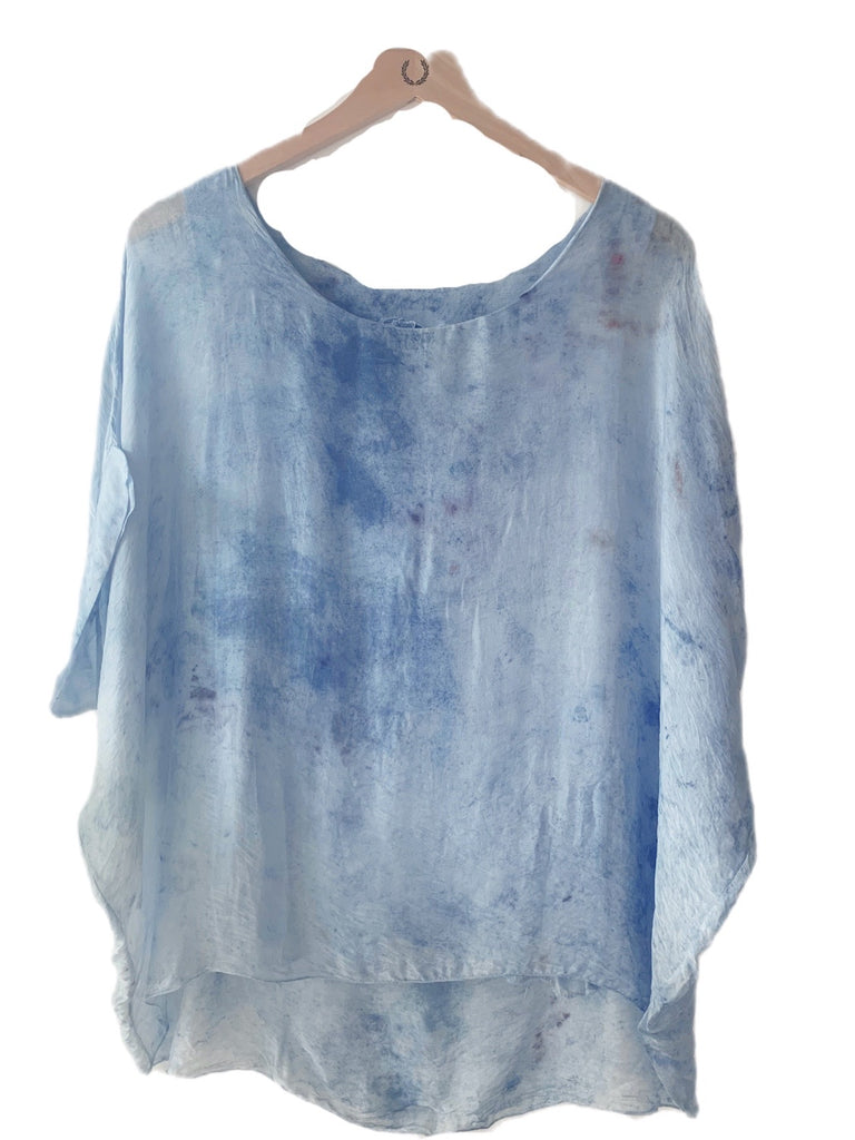 Flower Dyed Caftan Short :Indigo  + Rose  with code is $88.50