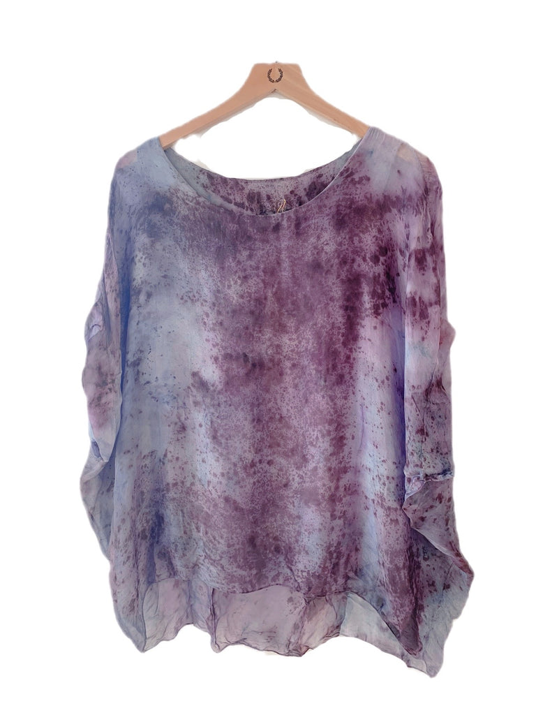 Flower Dyed Caftan Short : Logwood and rose with code is $88.50