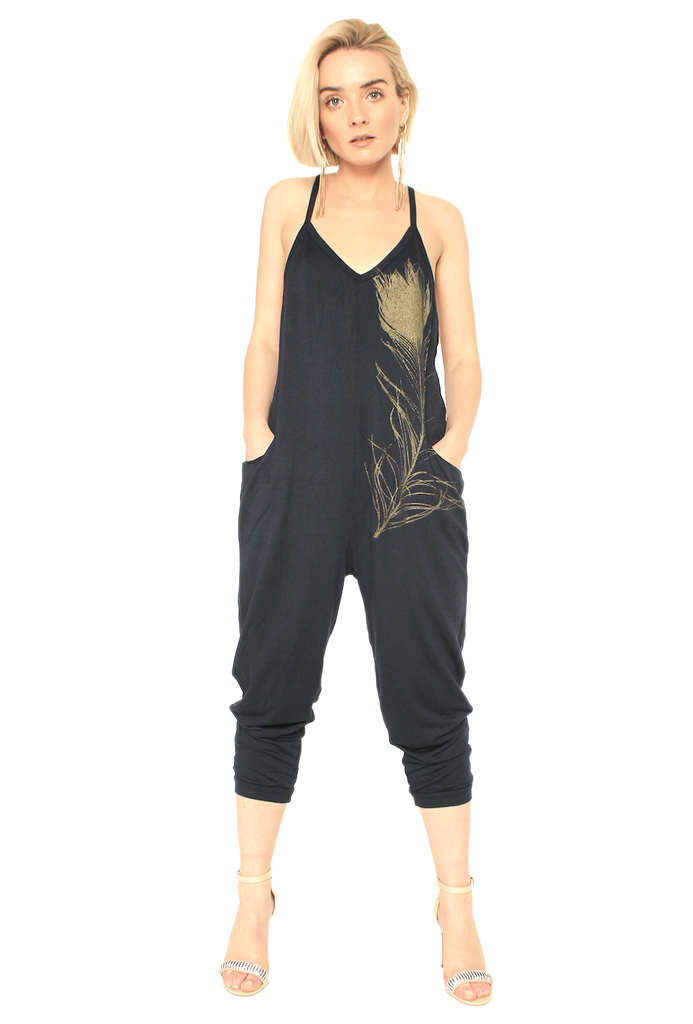 WABI SABI SALE Peacock Feather Jumpsuit Grey with copper feather with discount code is $37.50