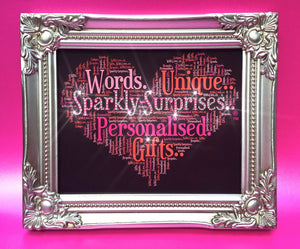 Sparkly Surprises personalised word collage gifts framed prints unique bespoke designs birthday wedding milestone