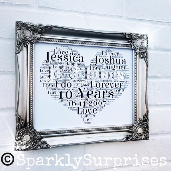 SILVER FRAME Wedding, Anniversary, Engagement gift, customised word art, anniversary gift, heart shape word art, mr & mrs, Bride and groom, personalised wedding frame
