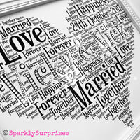 Wedding gift, customised word art, anniversary gift, heart shape word art, mr & mrs, Bride and groom, personalised wedding frame