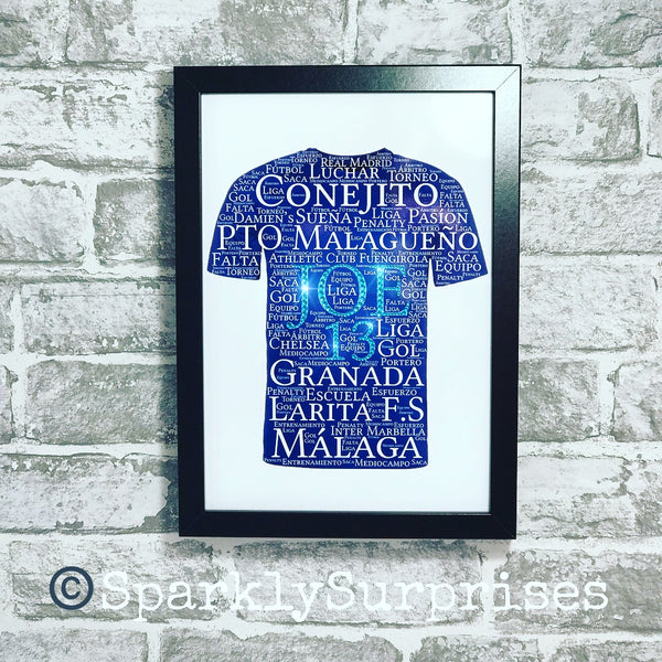 FOOTBALL SHIRT DESIGN Football Lover, Personalised word art, Father's Day frame, Gift for boys, Gift for Girls, Gift for Dad, Grandad, Framed print, gift for son, Chelsea FC, Football Themed