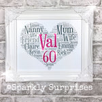 Heart Shape Design, Personalised gift, 70th birthday, Milestone Birthday, gift for mum, gift for grandparents, sparkly picture, 50th Birthday, 60th, pink