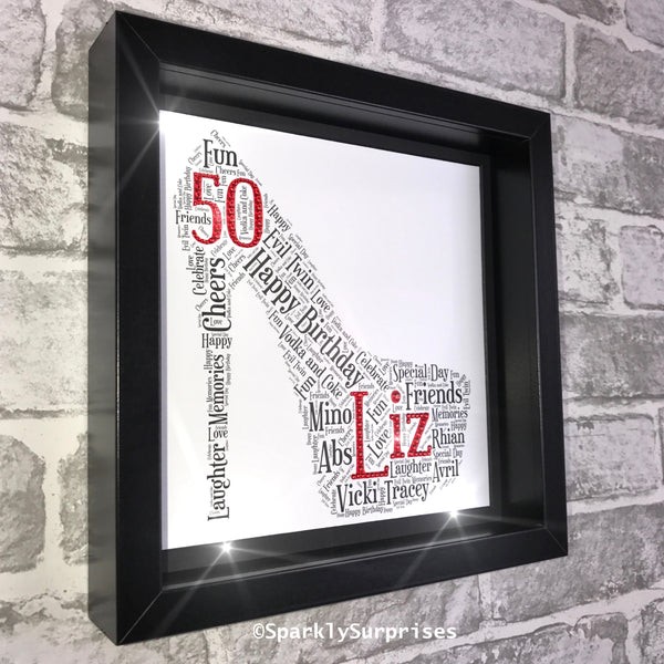 Shoe Word Art, Framed Personalised Print, Gift For Her, Gift for Girls, Shoe Shape, Sparkled words, Hen Party, Black, Silver