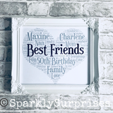 BEST FRIEND Best friend gift, gift for friend, friends birthday, 50th, 21st, 18th, word art, heart, personalised framed art, customised birthday gift