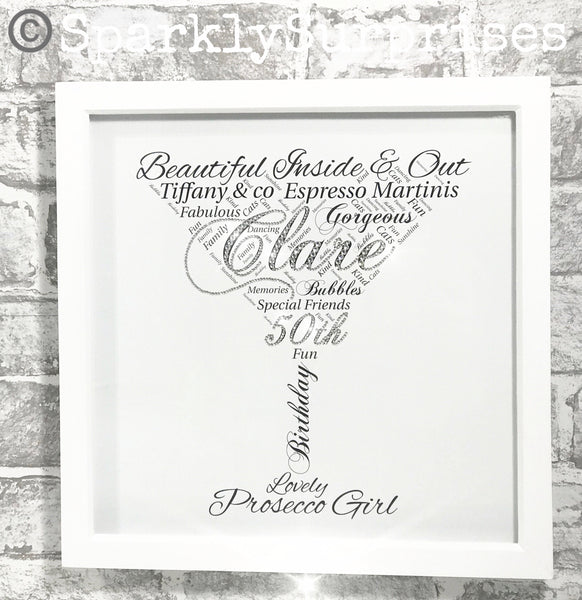Cocktail Glass Design,  40th Birthday gift, Framed Word Art, Personalised print, martini glass, 30th, 40th, 50th, Milestone birthday, Sparkly art