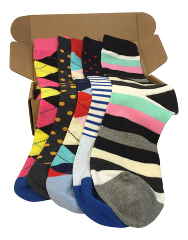 5 Pair Men's Power Socks - Deco Collection